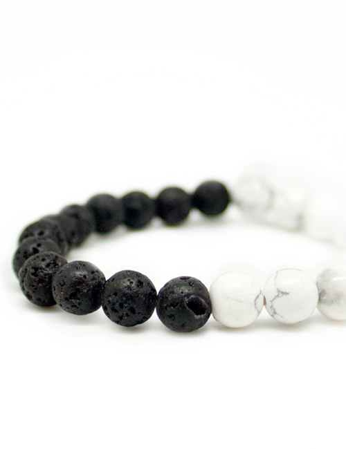 My intention black and white mala bracelet lava howlite