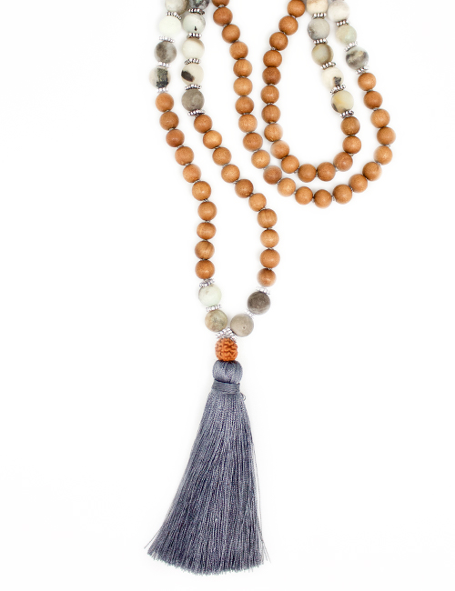 my intention unique mala necklace eternite grey